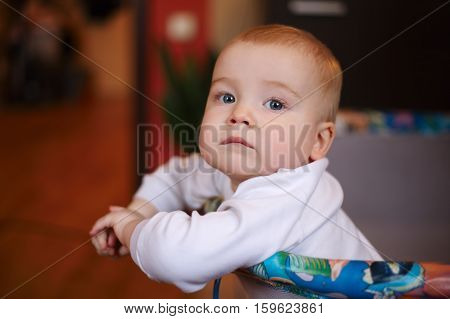 photo of cute little boy at home