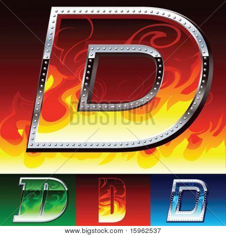 Feuer und Metall-Schriftsatz
