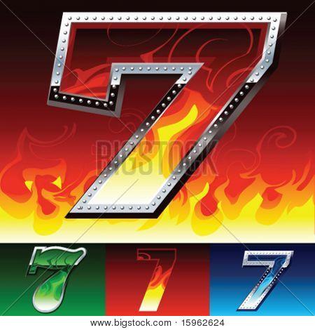 Feuer und Metall Schriftpalette Ziffer