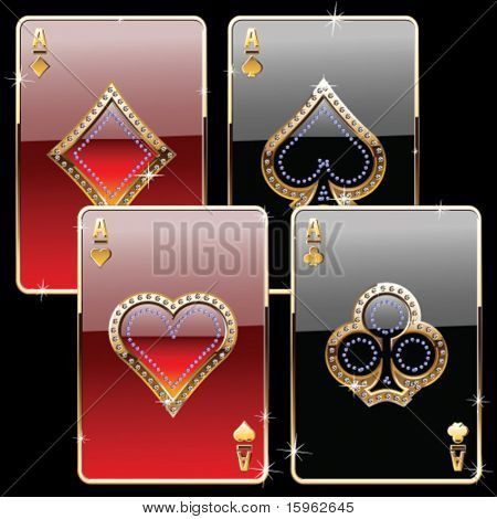 playing cards gold and diamond gold style