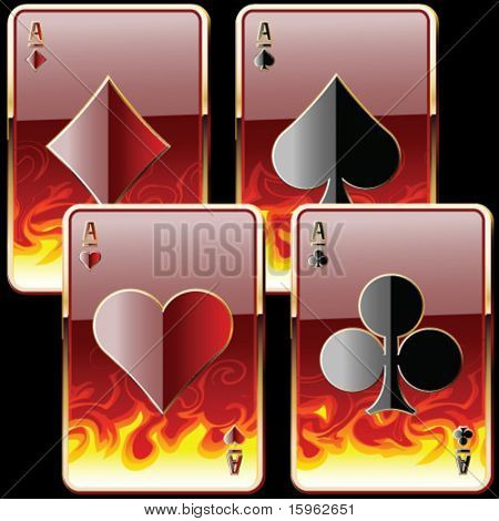 playing cards in fire