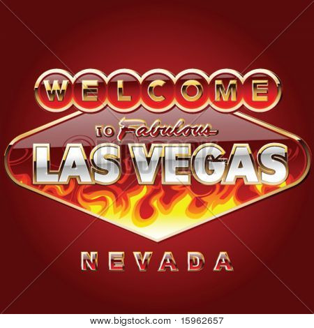 burning Las vegas road sign