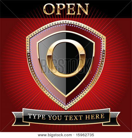 Shield in gold and brilliant with alphabet Letter o