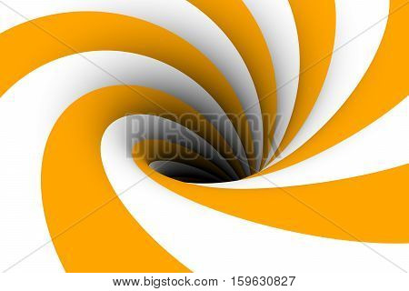 black hole yellow white color 3D illustration
