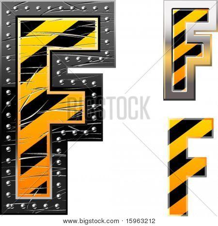 Letras de rayas negras y amarillas de peligro