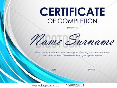 Certificate of completion template with gray slanting stripes pattern and blue light wavy background. Vector illustration