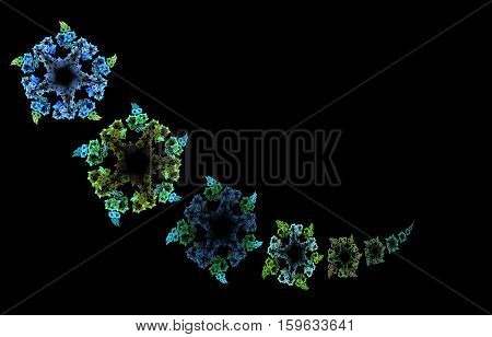 Computer-generated fractal abstraction on the black background