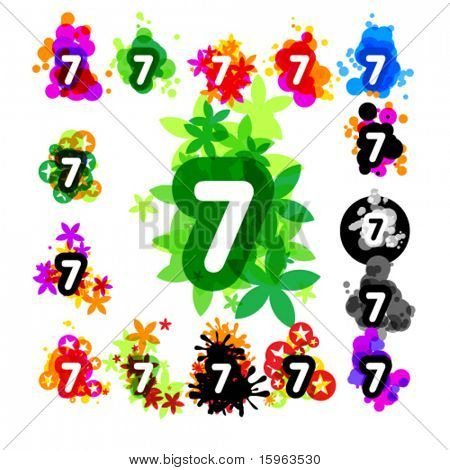 Colorful set of a funny alphabet number 7