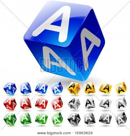 Glossy alphabet on a cubes. Letter a