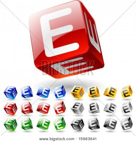 Glossy alphabet on a cubes. Letter e