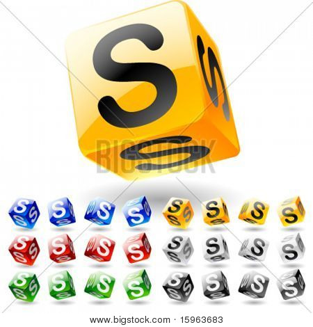 Glossy alphabet on a cubes. Letter s