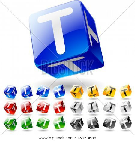 Glossy alphabet on a cubes. Letter t