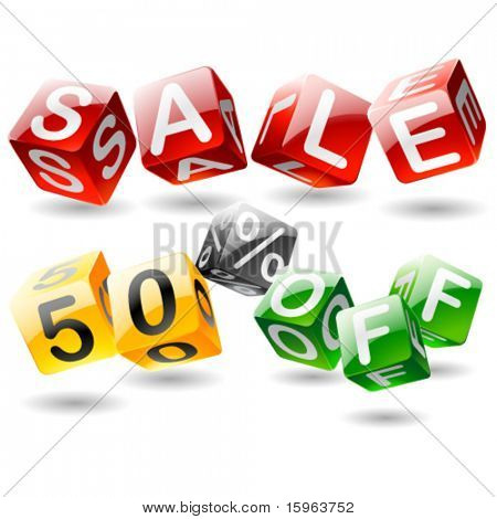 Funny SALE OFF phrase compiled with a cubes