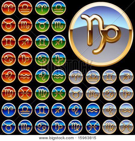 Set of a golden zodiac symbols in four colors