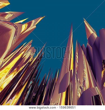 Glitch manipulations with 3D effect. Abstract flow of brown and yellow crystals on dark blue background. It can be used for web design and visualization of music