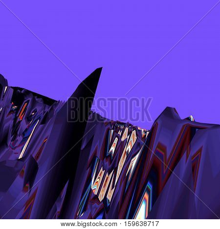 Background of glitch manipulations with 3D effect. Abstract landscape with sharp peaks in purple shades. It can be used for web design and visualization of music.