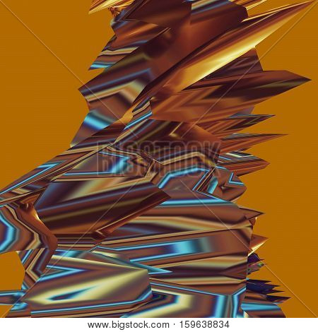 Glitch manipulations with 3D effect. Abstract shape with sharp peaks on mustard background. It can be used for web design and visualization of music