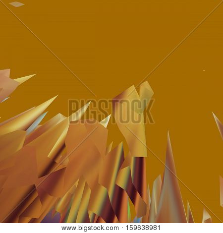 Background of glitch manipulations with 3D effect. Abstract landscape with sharp peaks in golden shades. It can be used for web design and visualization of music.
