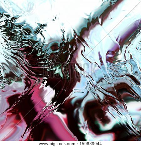 Background of glitch manipulations with 3D effect. Abstract artistic flow with glass texture in white and vinous shades. It can be used for web design and visualization of music