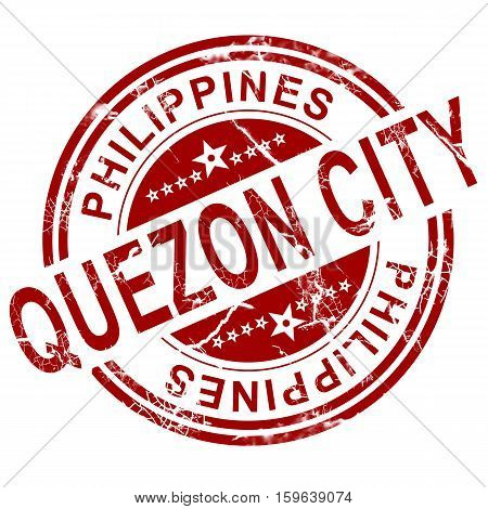 Red Quezon City Stamp