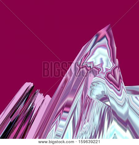 Background of glitch manipulations with 3D effect. Abstract landscape with sharp peaks in pink shades. It can be used for web design and visualization of music.