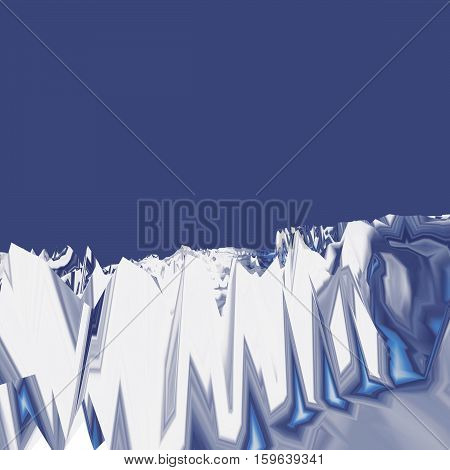 Background of glitch manipulations with 3D effect. Abstract landscape in blue shades. It can be used for web design and visualization of music.