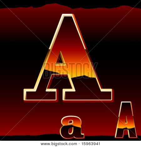 Dramatic dark sunset styled alphabet symbol. Letter a