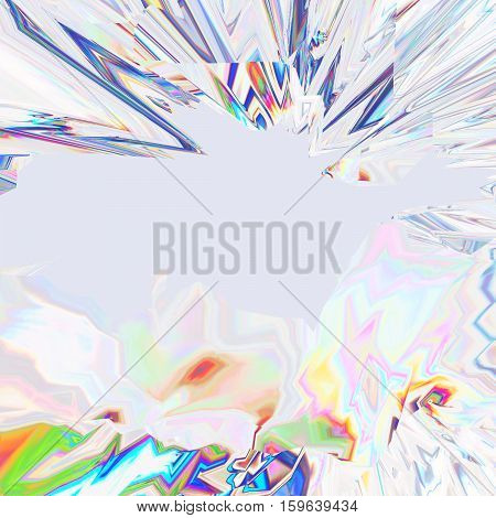 Glitch manipulations with 3D effect. Abstract flow of colorful crystals on light grey background. It can be used for web design and visualization of music