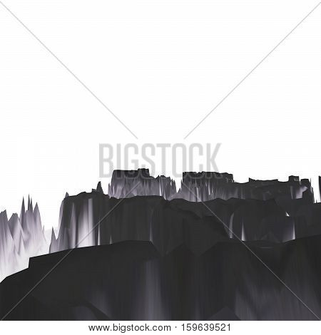 Background of glitch manipulations with 3D effect. Abstract monochrome landscape with sharp peaks on white background. It can be used for web design and visualization of music.