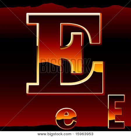 Dramatic dark sunset styled alphabet symbol. Letter e