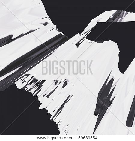 Background of glitch manipulations with 3D effect. Abstract flow of crystals in white and black colors. It can be used for web design and visualization of music