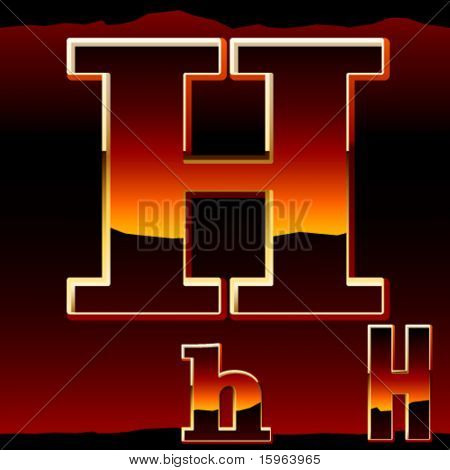 Dramatic dark sunset styled alphabet symbol. Letter h