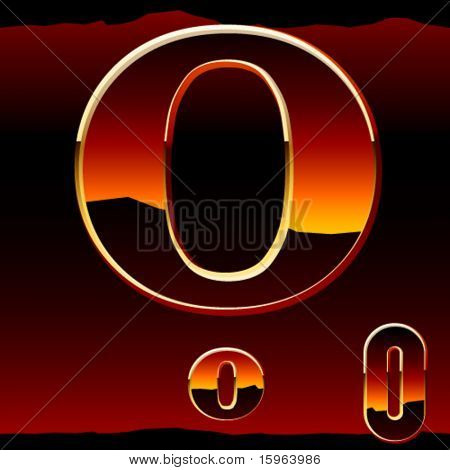 Dramatic dark sunset  styled alphabet letter o