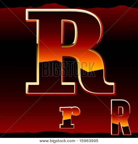 Dramatic dark sunset  styled alphabet letter r