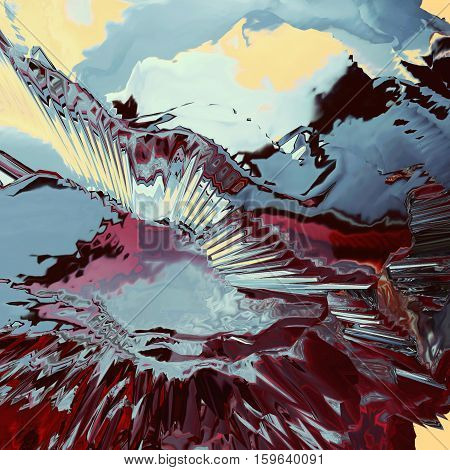 Background of glitch manipulations with 3D effect. Abstract flow of crystals with glass texture in red blue and yellow shades. It can be used for web design and visualization of music