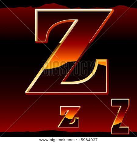 Dramatic dark sunset  styled alphabet letter z