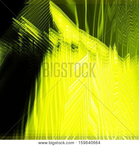 Background of glitch manipulations. Feed abstract broken stripes in yellow and green shades. It can be used for web design and visualization of music