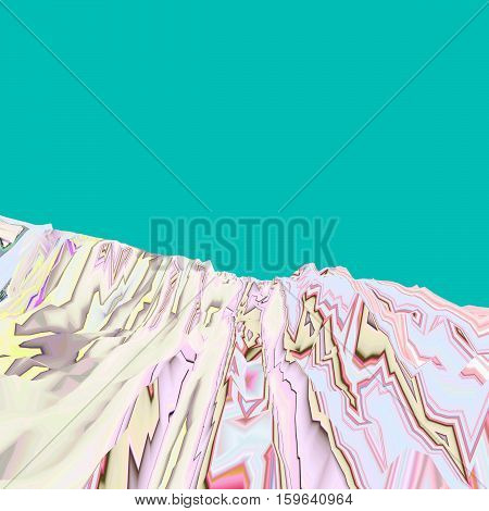 Background of glitch manipulations. Abstract landscape in pastel shades on a green background. it can be used for web design and visualization of music