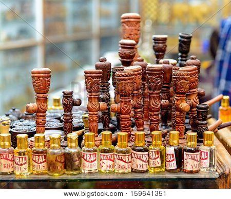 Pushkar, India - November 11, 2016: Tools for smoking cannabis on sale at market in Pushkar, Rajasthan