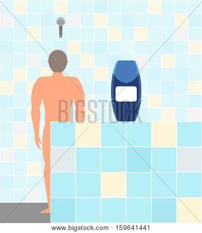 Men's shampoo shower gel. Advertising. Naked man in the shower. Vector illustration.