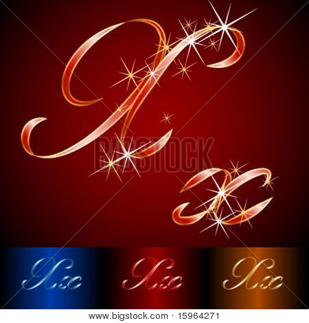 Ribbon styled vector gala alphabet. Applicable for dark and light background. Letter x