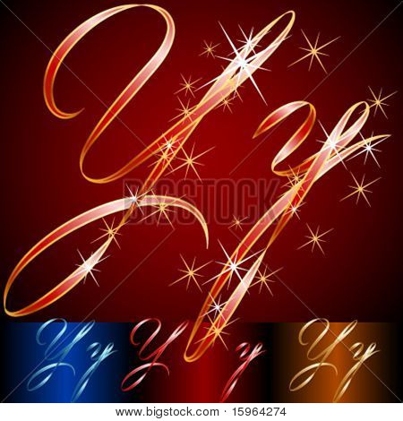 Ribbon styled vector gala alphabet. Applicable for dark and light background. Letter y
