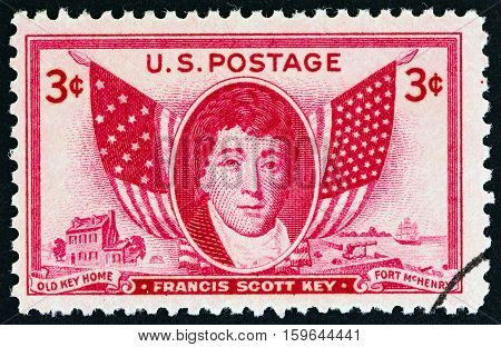USA - CIRCA 1948: A stamp printed in USA shows Francis Scott Key and Flags, circa 1948.