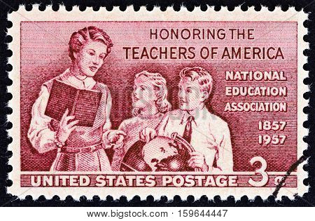 USA - CIRCA 1957: A stamp printed in USA from the