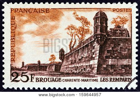 FRANCE - CIRCA 1955: A stamp printed in France shows Ramparts of Brouage, circa 1955.