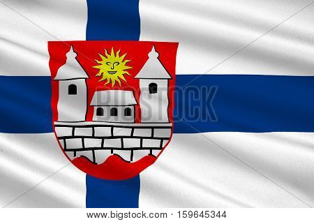 Flag of Hameenlinna in Southern Finland is a province of Finland. 3d illustration