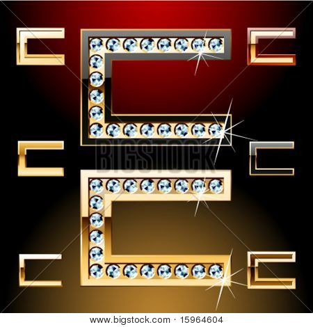 Vector illustration of boldest golden letters with shining diamonds. Character c