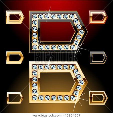 Vector illustration of boldest golden letters with shining diamonds. Character d