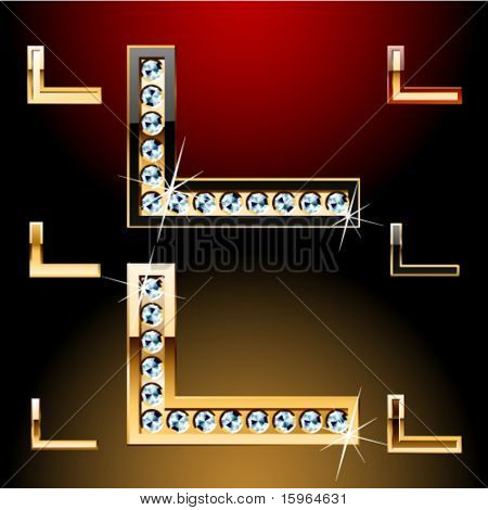 Vector illustration of boldest golden letters with shining diamonds. Character l