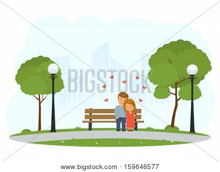 Boy and girl hugging sitting on a Park bench. Couple sitting on bench and cuddling. Romantic day in Park. Concept design for Valentine's Day. Vector Illustration in flat style.